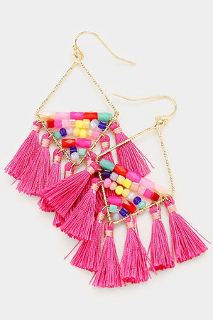 Multicolor beaded tassel earrings