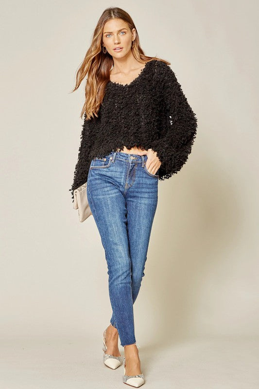 Trendy Black Popcorn vibe sweater