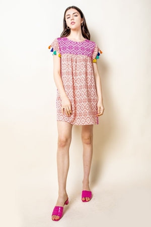 THML Colorblocked Jacquard Dress