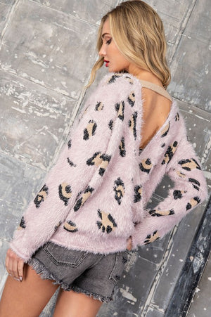 Mauve cheetah surplice sweater