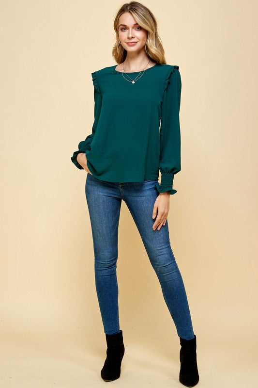 Fancy me ruched cuff blouse