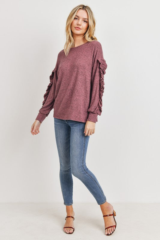 Ruffle sleeve brushed knit top
