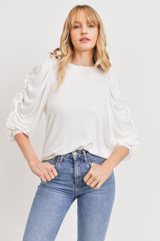 Elbow length ruffle sleeve top