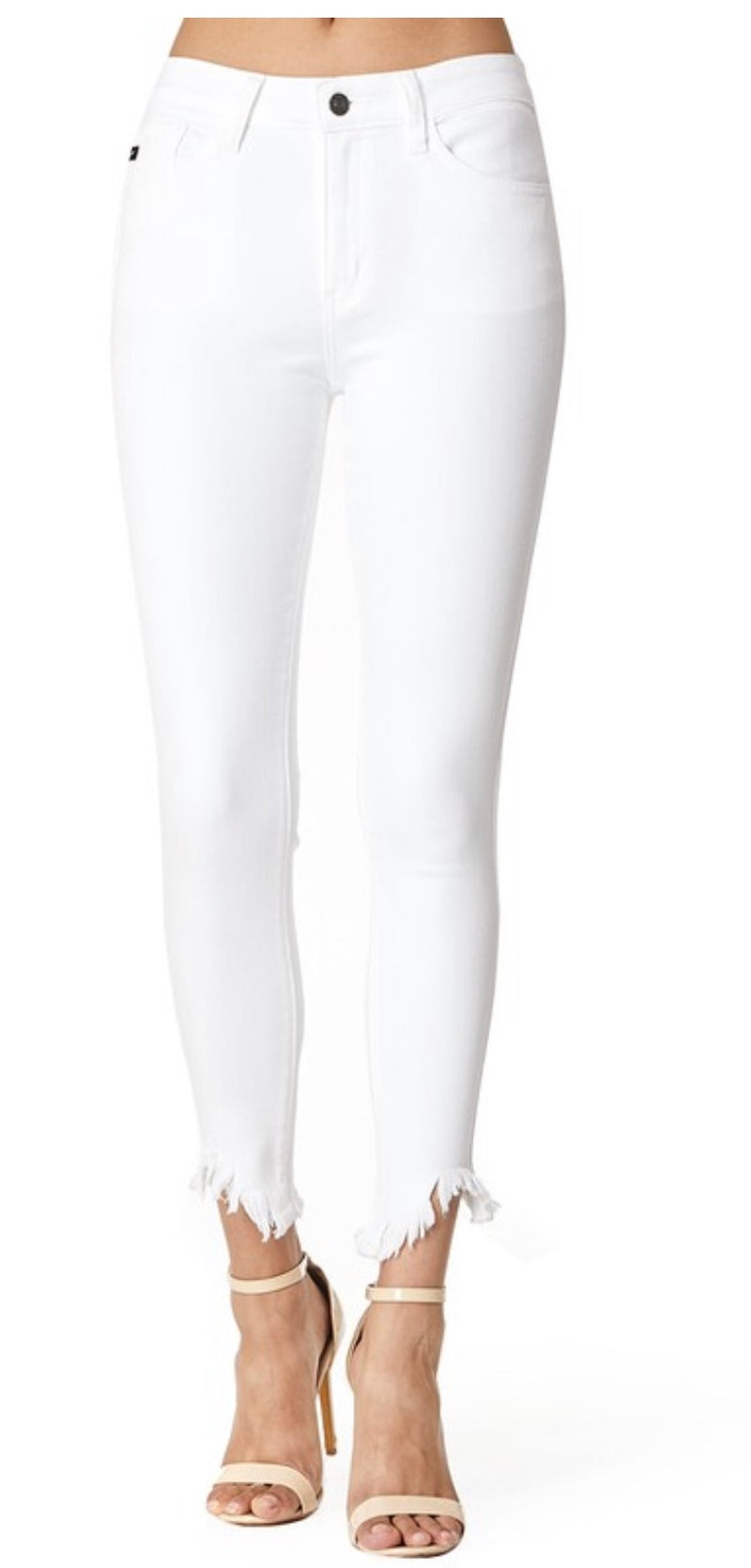 Mid/high rise white jeans with frayed hem