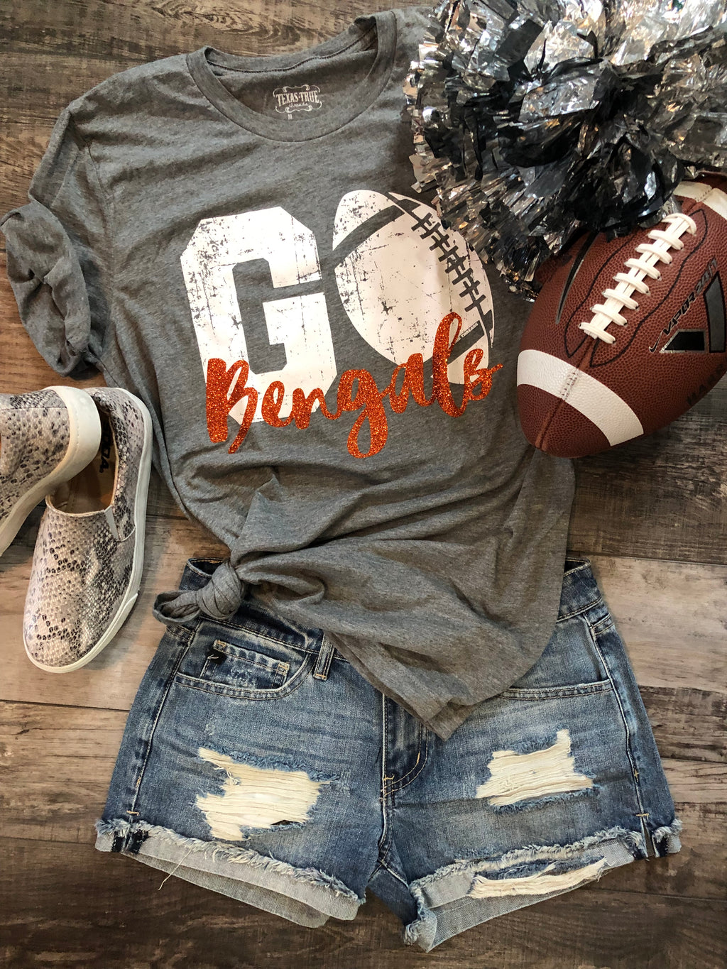 BENGALS grey/orange custom football tee