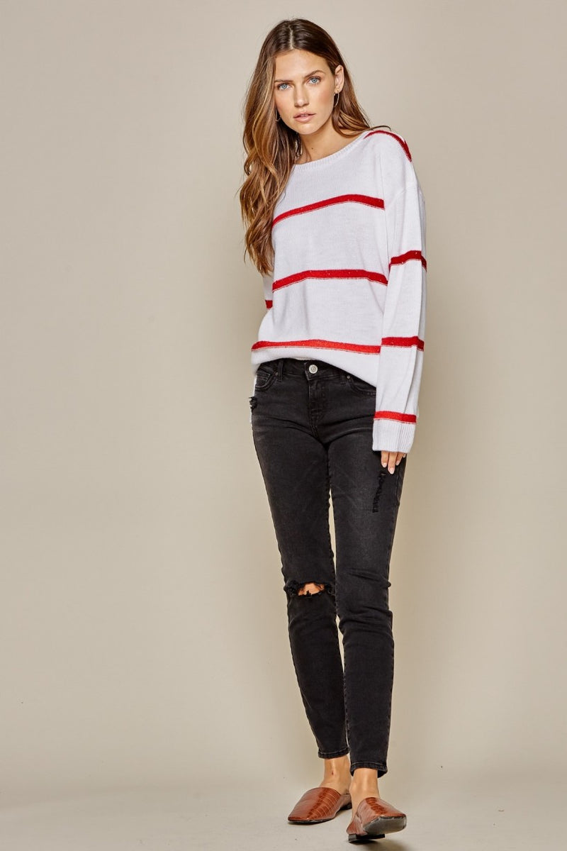 Stripe red/white sequin sweater