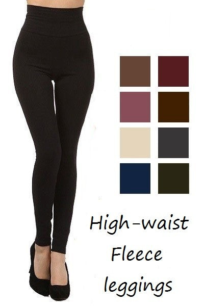 One size -Fleece lined tummy control leggings