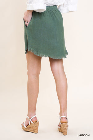 Lagoon linen skirt with high lo frayed hem