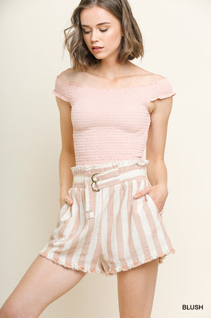 Striped blush linen high waisted shorts