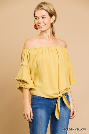 Linen layered off the shoulder top with front tie