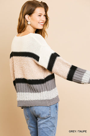 Umgee Multi mixed fabric sweater