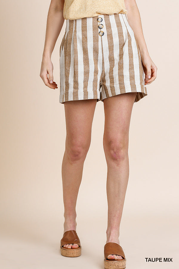 Taupe stripe faux button shorts