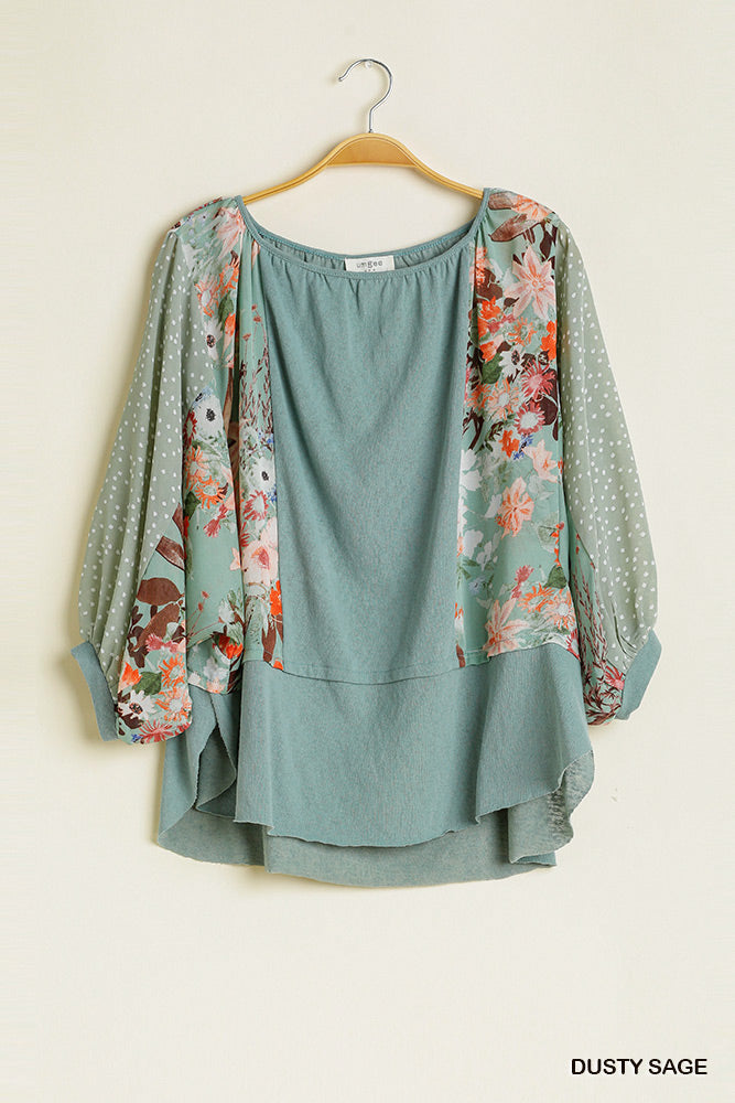 Dusty sage Polka Dot/floral top