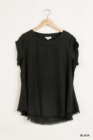 Frayed hem linen top