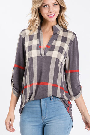 Plaid vneck with button sleeve