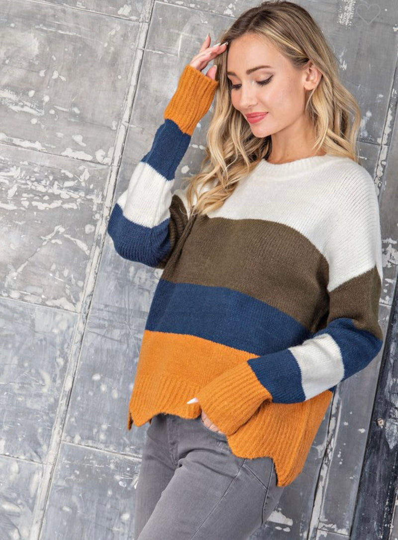 Navy/mustard Colorblock sweater