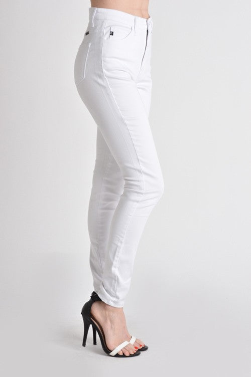High rise nondistressed white jeans