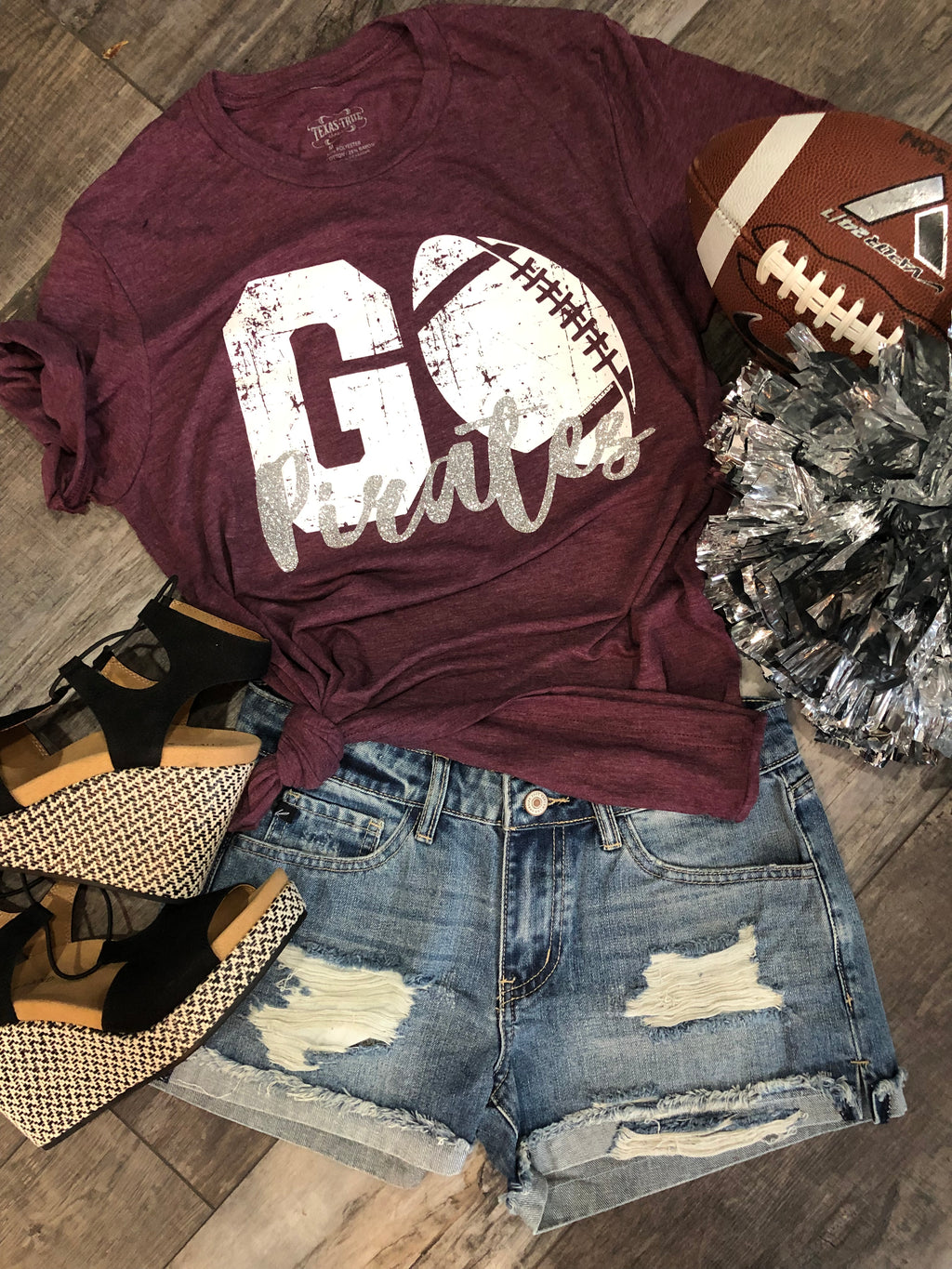 BOBCATS maroon/white custom Football Tee