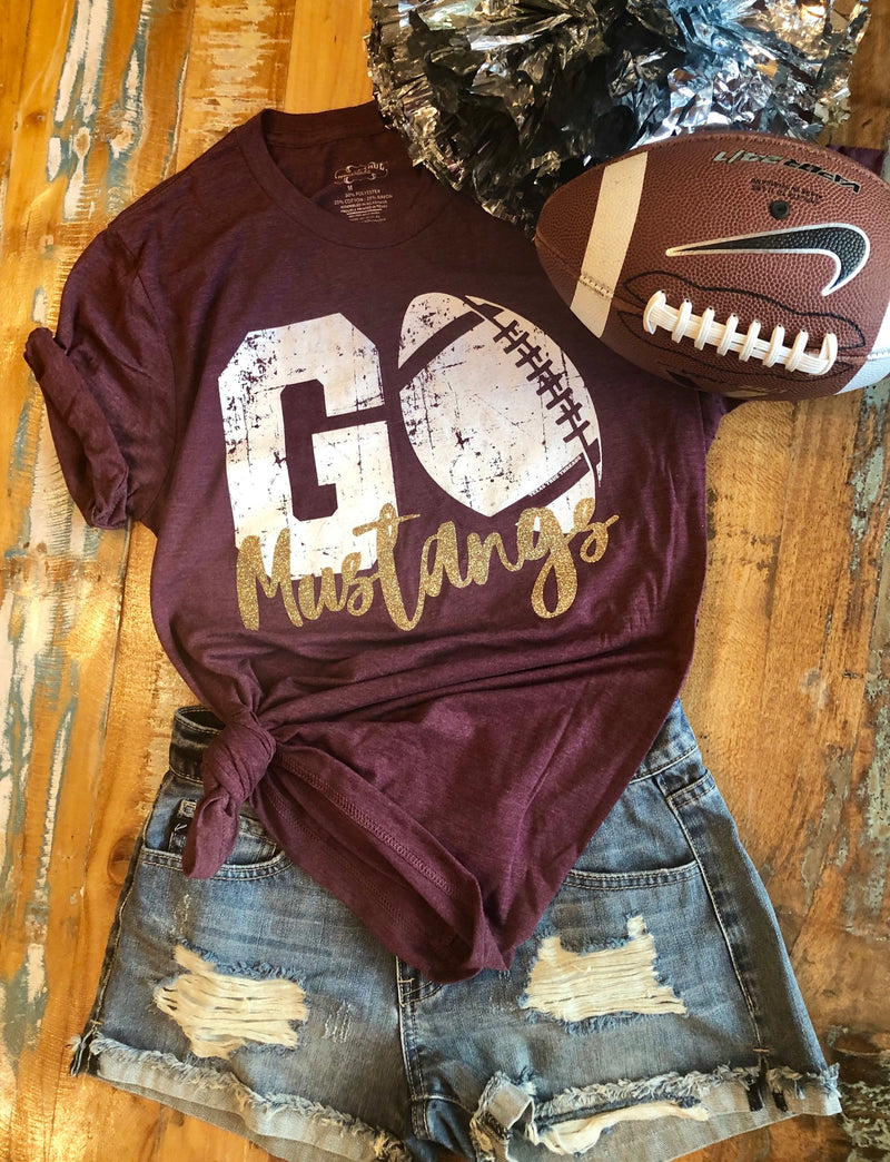 MUSTANGS maroon/gold football tee