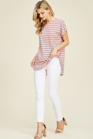 Stripe short sleeve casual tunic - Mauve or Mint