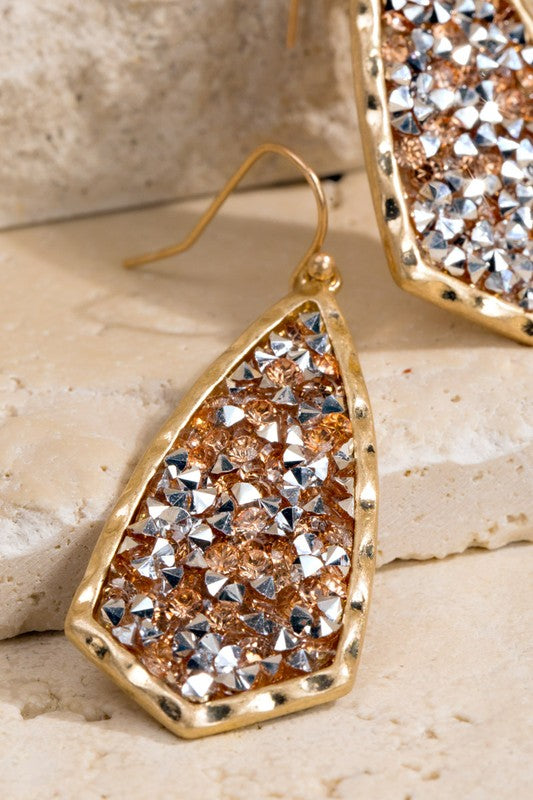 Glitter stone dangle earrings