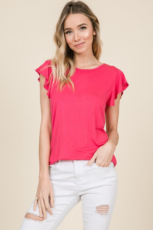 Ruffle cap sleeve top