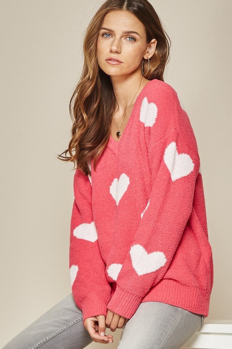 Hot pink/white heart sweater