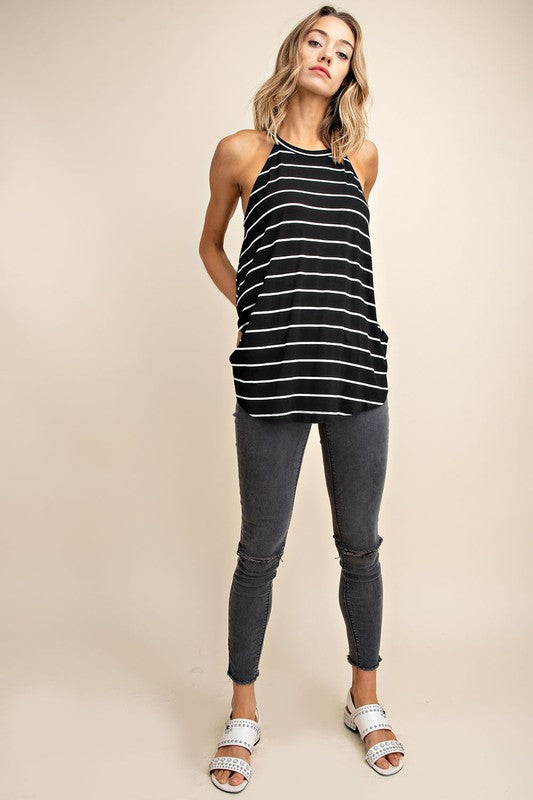 Stripe tank in Black or White