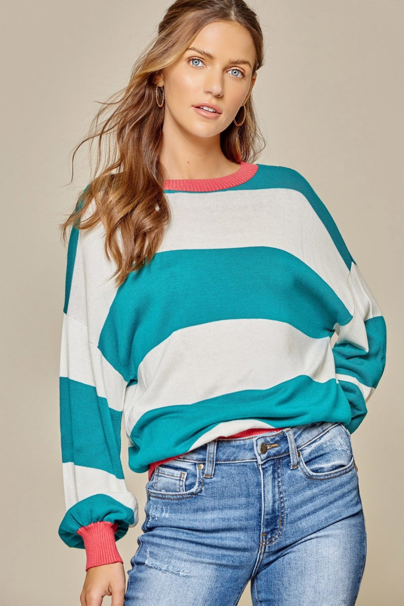 Mint/Coral pullover