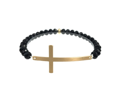 Black crystal stretch bracelet with gold cross