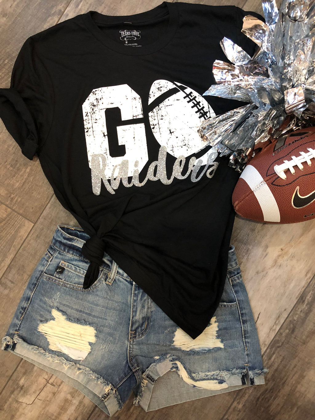 RAIDERS black/silver custom football tee