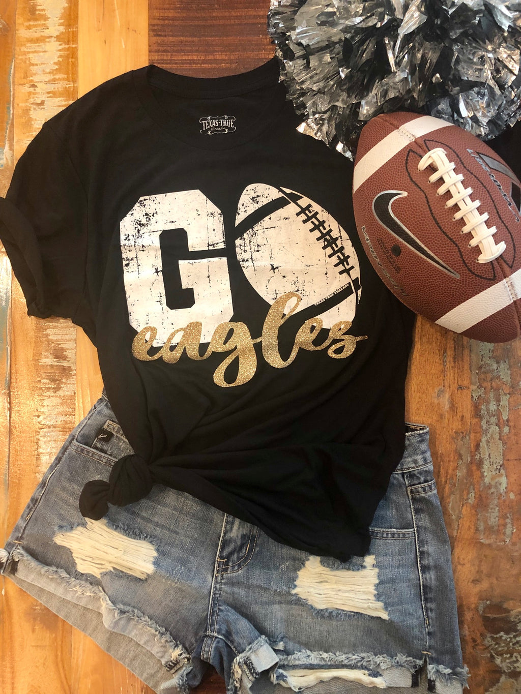EAGLES black/gold custom football tee