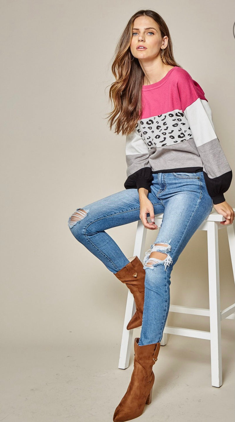 Multi colorblock sweater pink/animal