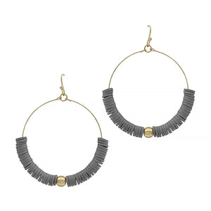Grey beaded circle earrings