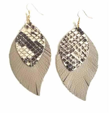 Snake/grey leather layered earring