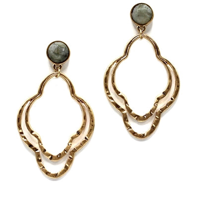 Double filigree with natural grey stone earrings