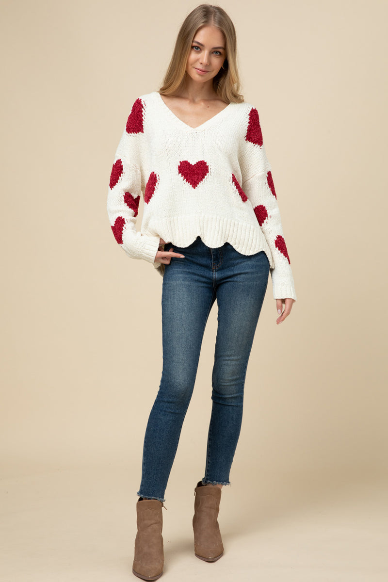 Scalloped hem heart sweater valentine