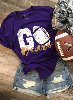 BEARS purple/gold custom football tee