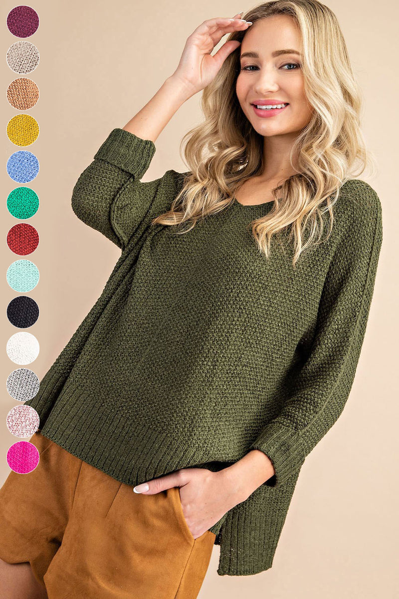 Lightweight 3/4 sleeve sweater