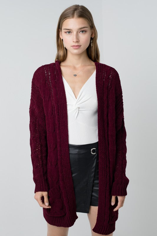 Chunky cable knit cardi in wine