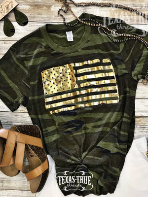 Camo or RED gold foil flag tee