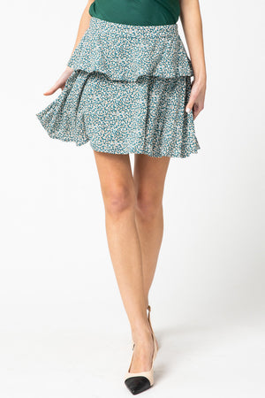 Teal tiered skirt
