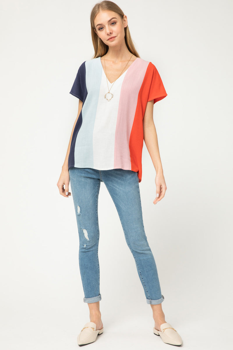 Colorblock stripe vneck