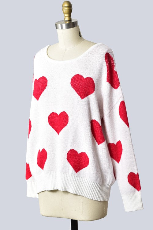 Heart valentine sweater with open back -FINAL SALE ITEM