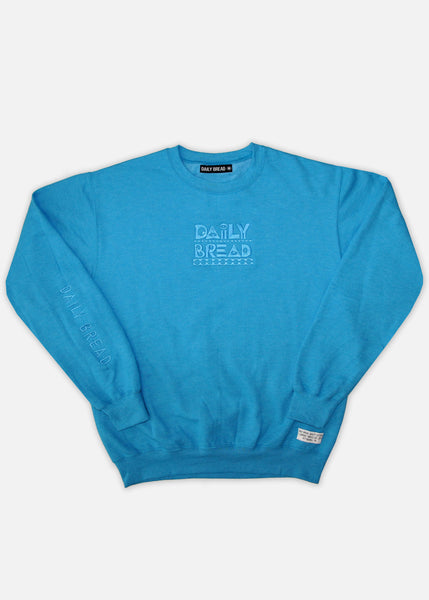 TONAL EMBROIDERED MOOSH CREWNECKS - BLUE