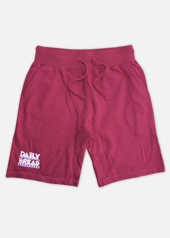 MOOSH SWEAT SHORTS - BURGUNDY/WHITE
