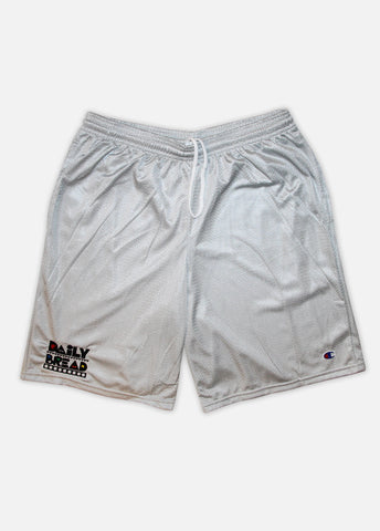 DAILY BREAD CHAMPION MESH SHORTS - HEATHER GREY/PRIMARY