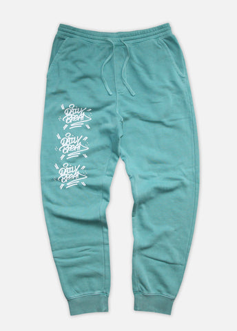 THE STACKED PIGMENT-DYED JOGGERS - MINT