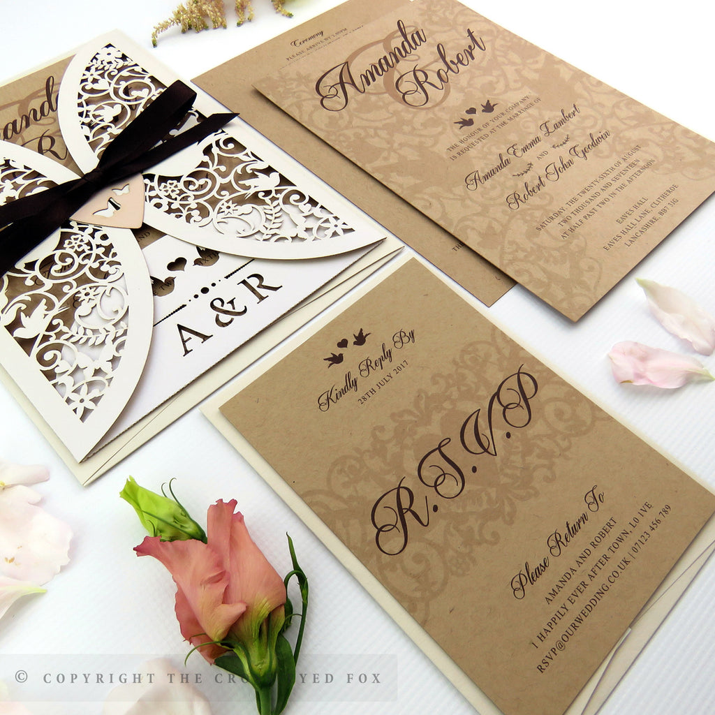 Bespoke laser cut wedding stationery and wedding invitations