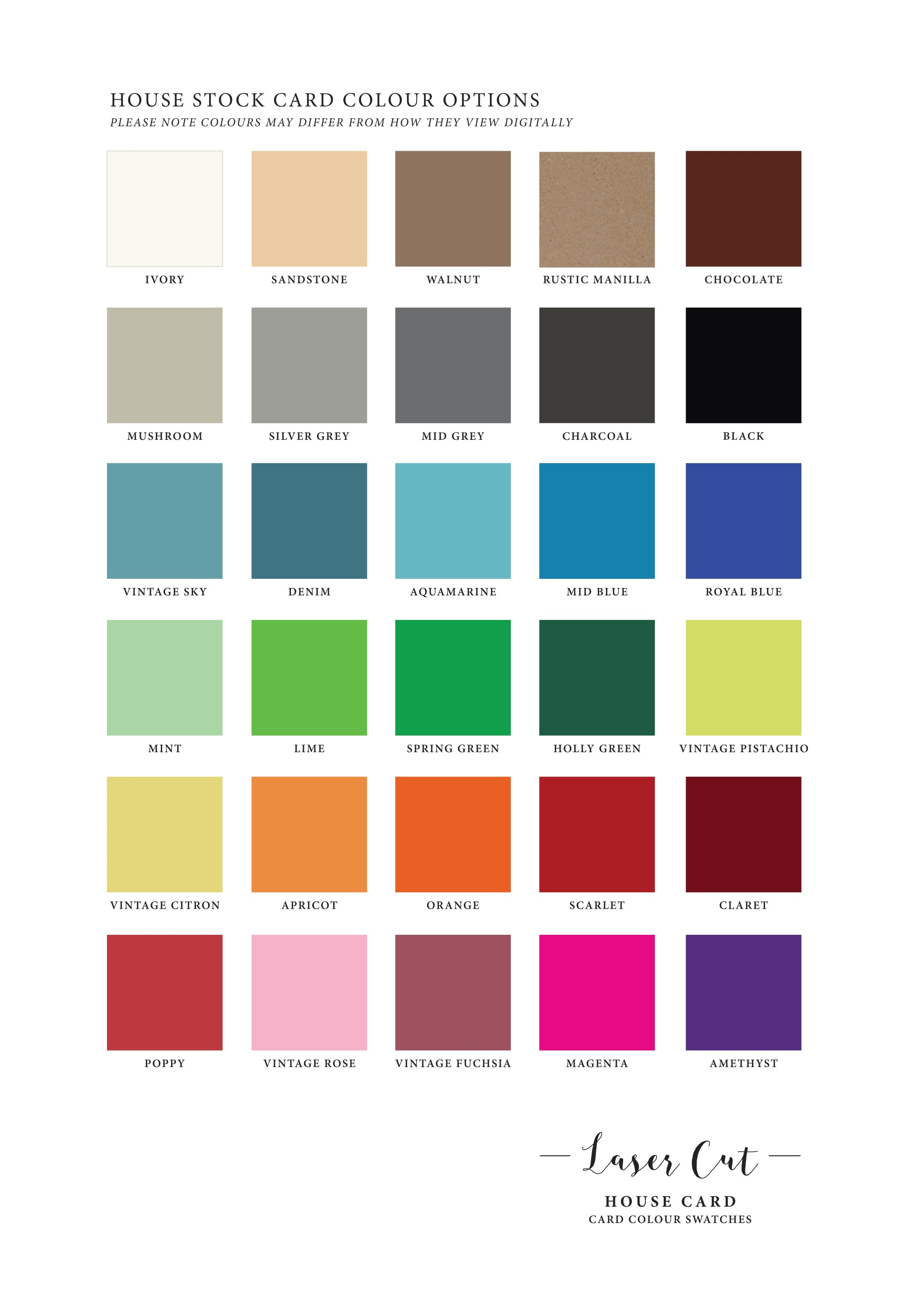 House Card Stock Colours